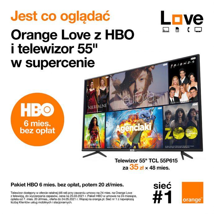 "Orange LOVE z HBO i telewizor 55"" w supercenie"